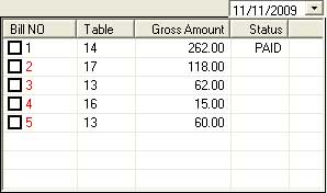 KOT Status of all Table