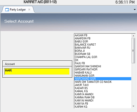 Select Party Account to view partywise account